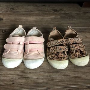 Two pairs of little girl slip on shoes with velcro